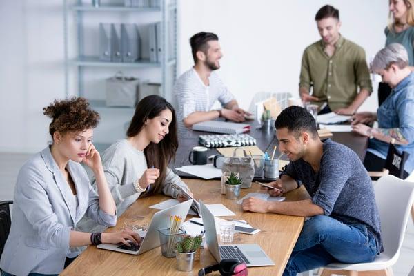 Millenials in a work hub