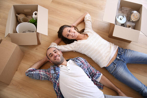 young couple in a new house