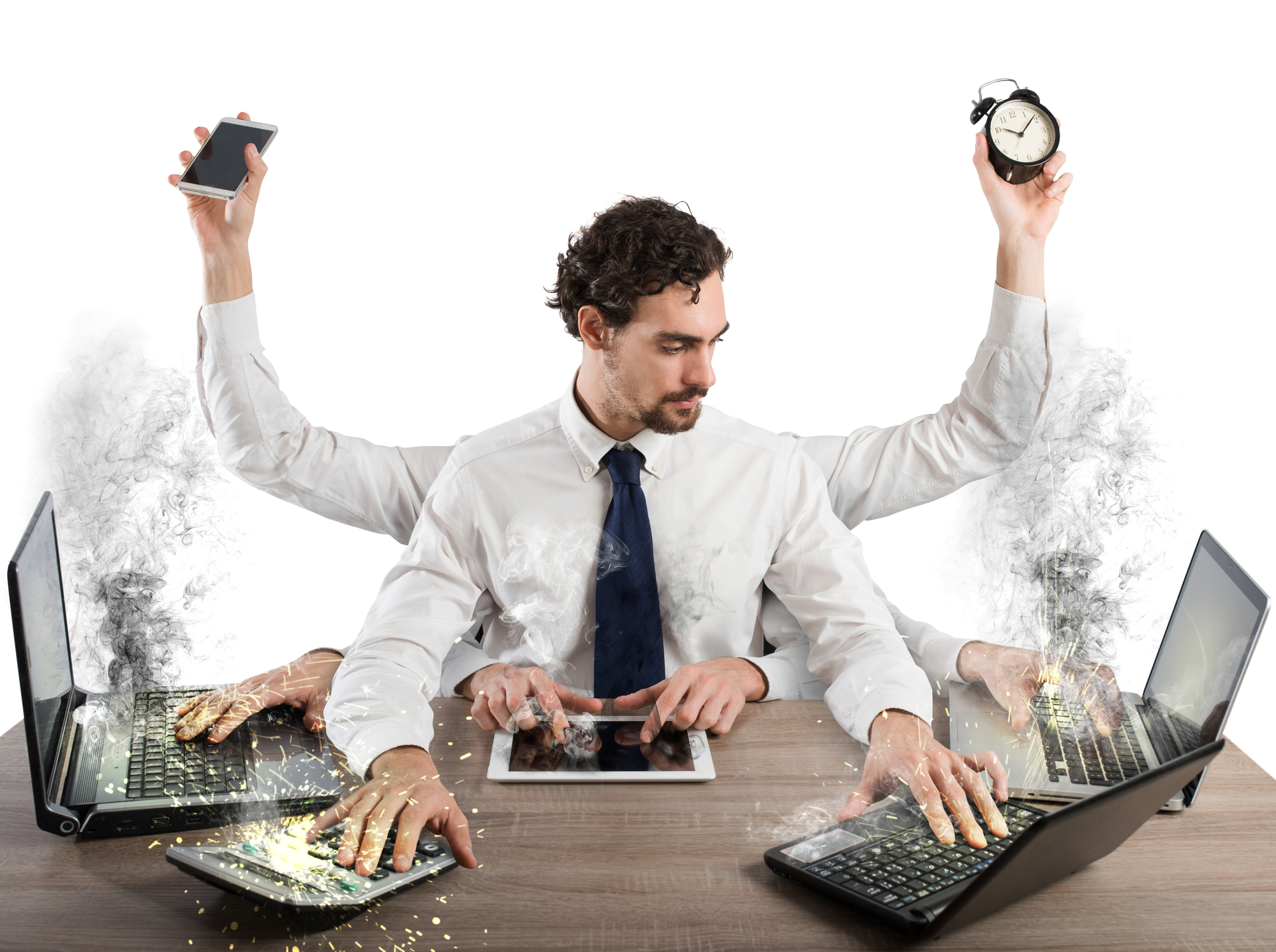 Businessman stressed out from work