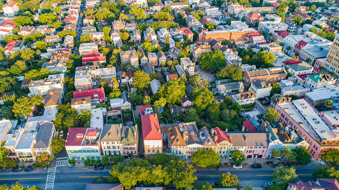 Rainbow Row in Charleston South Carolina SC Aerial