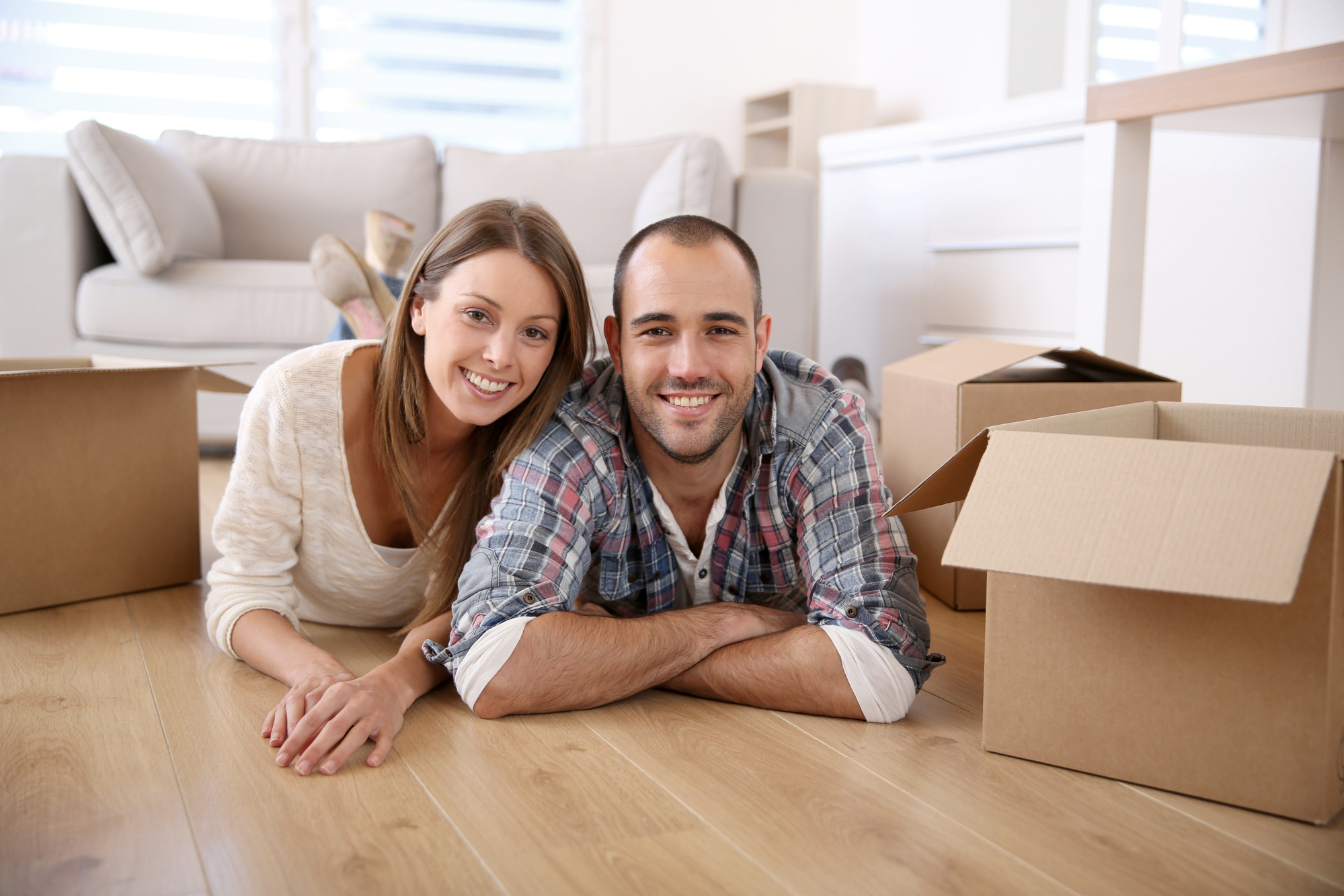 Smiling couple at home